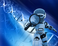 Robot with magnifying glass on DNA background Royalty Free Stock Images