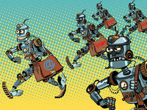 Robot mailman e-mail campaigns. Pop art retro style. Internet correspondence. Advertising mailing. Spam and malicious email Stock Photo