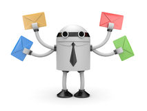 Robot with mails Stock Images
