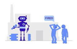 Free Robot Makes The Detail And Fired Employees. Royalty Free Stock Photography - 188409477