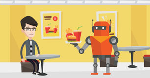 Robot making coffee for a client at coffee shop. Royalty Free Stock Image