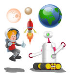 Robot and male astronout with planet Royalty Free Stock Photos