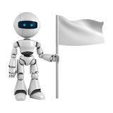Robot Man And Blank Flag Royalty Free Stock Image