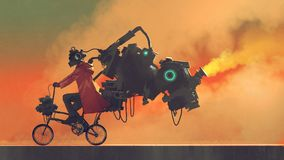 Robot man on a futuristic bike. Robot man on a bike designed with futuristic machines, digital art style, illustration painting Royalty Free Stock Photos