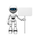 Robot man and blank sign. 3D rendering of a robotic man, holding a blank white sign Royalty Free Stock Images