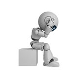 Robot man on box. Robot man sitting on a white box with a hand to its head.  White background Stock Image