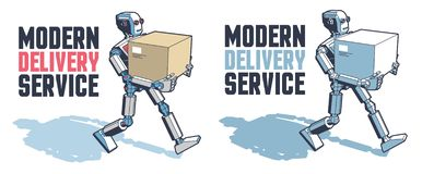 Robot man carries a parcel box. Robotic delivery service. Vector retro illustration stock illustration