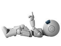 Robot man laying down. And pointing upwards Stock Photos