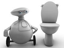 Robot man near toilet Royalty Free Stock Image