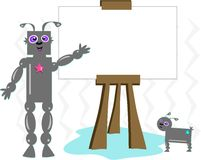 Robot Man and Robot Dog with Easel Stock Photo