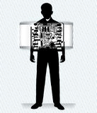 Robot man. With see through banner - inside view full man behind Royalty Free Stock Images