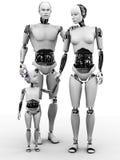 Robot Man, Woman And Child. Stock Photos