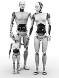 Robot man, woman and child. A robot family consisting of a man, woman and child. White background Stock Photos