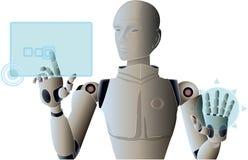 Robot managing and operating virtual hud screen interface. vector illustration