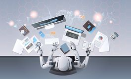 Robot with many hands using digital devices at workplace desk office stuff working process top angle view artificial. Intelligence technology concept horizontal vector illustration