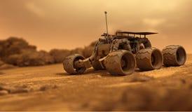 Robot on Mars. Robot of humans on Mars Stock Photo