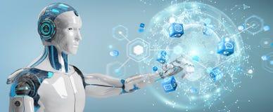 Robot masculin blanc utilisant le rendu numérique de l'interface 3D d'écran illustration de vecteur