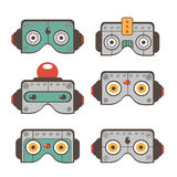 Robot masks collection Stock Photo