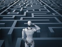 Robot in maze. 3d rendering humanoid robot analysisi in maze stock photography