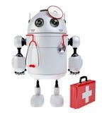 Robot médico del robot con el equipo de primeros auxilios Imagen de archivo libre de regalías