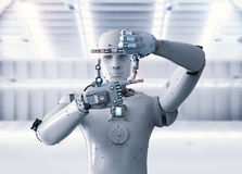 Robot measure with finger Royalty Free Stock Photography