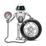 Robot measures the pressure. Robot is measuring pressure in the tyre Royalty Free Stock Images