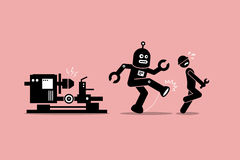 Robot mechanic kicks away a human technician worker from doing his job at factory. Vector artwork depicts automation, future concept, artificial intelligence Stock Image