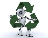 Robot med återvinningsymbol stock illustrationer
