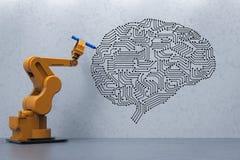 Robot med ai-hjärnan royaltyfri foto