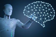 Robot med ai-hjärnan royaltyfri illustrationer
