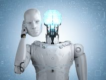 Robot med ai-hjärnan stock illustrationer