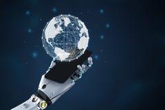 Robot med global anslutning royaltyfri illustrationer