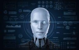 Robot med grafisk skärm stock illustrationer