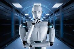 Robot med grafisk sk?rm stock illustrationer