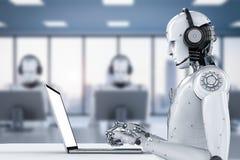 Robot med hörlurar med mikrofon stock illustrationer