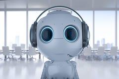 Robot med hörlurar med mikrofon royaltyfri illustrationer