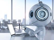Robot med hörlurar med mikrofon och anteckningsboken royaltyfri illustrationer