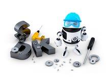 Robot med hjälpmedel och SDK tecknet. Teknologibegrepp Fotografering för Bildbyråer