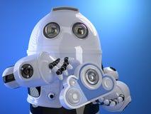 Robot med molnet i hans hand cloud meddelande resurser för begreppet för datoren beräknande lokaliserade bärbar dator Technolog Arkivfoto