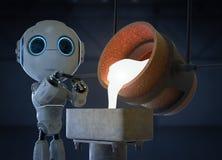 Robot med smält metall stock illustrationer