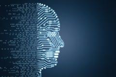 Robot med strömkretshjärnan royaltyfria bilder