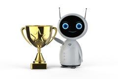 Robot med trofén royaltyfri illustrationer