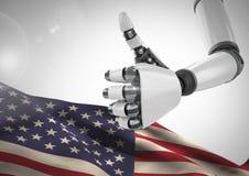 Robot med tummen upp mot amerikanska flaggan stock illustrationer