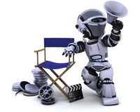 Robot with megaphone and directors chair. 3D render of a robot with megaphone and directors chair Royalty Free Stock Images