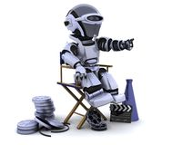Robot with megaphone and directors chair. 3D render of a robot with megaphone and directors chair Royalty Free Stock Image