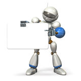 Robot with a message board is pointing the information. Isolated,computer generated image Stock Photo