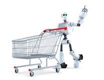 Robot met boodschappenwagentje die op onzichtbaar voorwerp richten Geïsoleerde Bevat het knippen weg stock illustratie