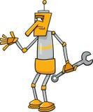 Robot met de illustratie van het moersleutelbeeldverhaal Royalty-vrije Stock Foto
