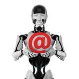 Robot met e-mailsymbool Stock Fotografie