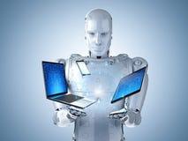 Robot met gadget Stock Foto